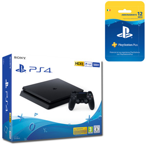 SONY PS4 500GB F Chassis Black + PlayStation Plus 12 mesi - MediaWorld.it
