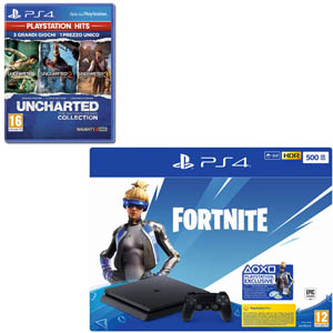 SONY PS4 500 GB + Fortnite VCH(19) + UNCHARTED The Nathan Drake Collection - MediaWorld.it