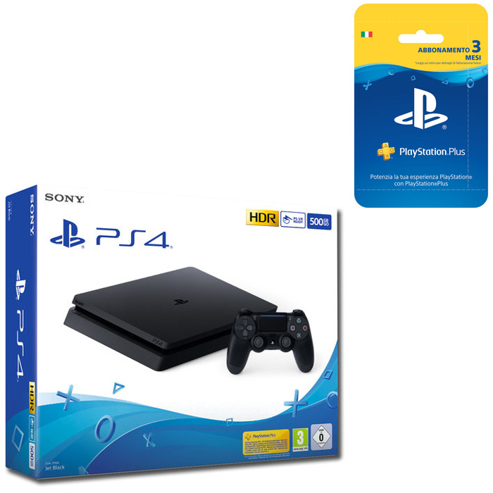 SONY PS4 500GB F Chassis Black + SONY PlayStation Plus 3 mesi - thumb - MediaWorld.it