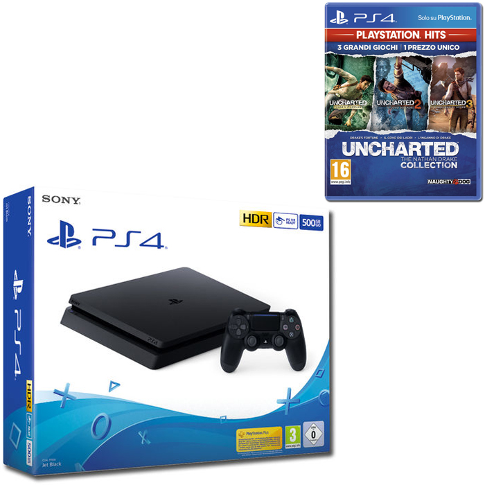 SONY PS4 500GB F Chassis Black + UNCHARTED The Nathan Drake Collection - PS4 - thumb - MediaWorld.it