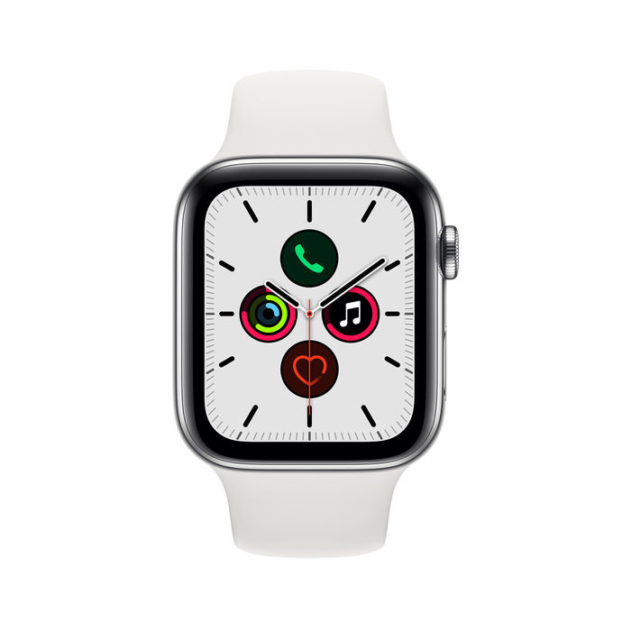 APPLE Watch Series 5 GPS + Cellular 44 mm in acciaio inossidabile - Cinturino Sport bianco - Regular - thumb - MediaWorld.it