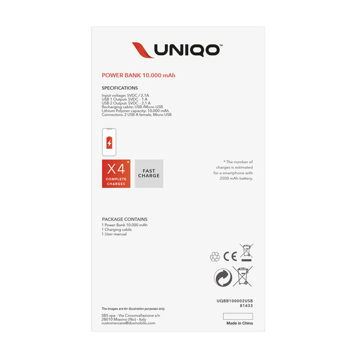 UNIQO Power bank 10.000 mah - thumb - MediaWorld.it