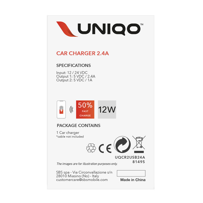UNIQO Carica batteria da auto 2 USB - 12W - thumb - MediaWorld.it