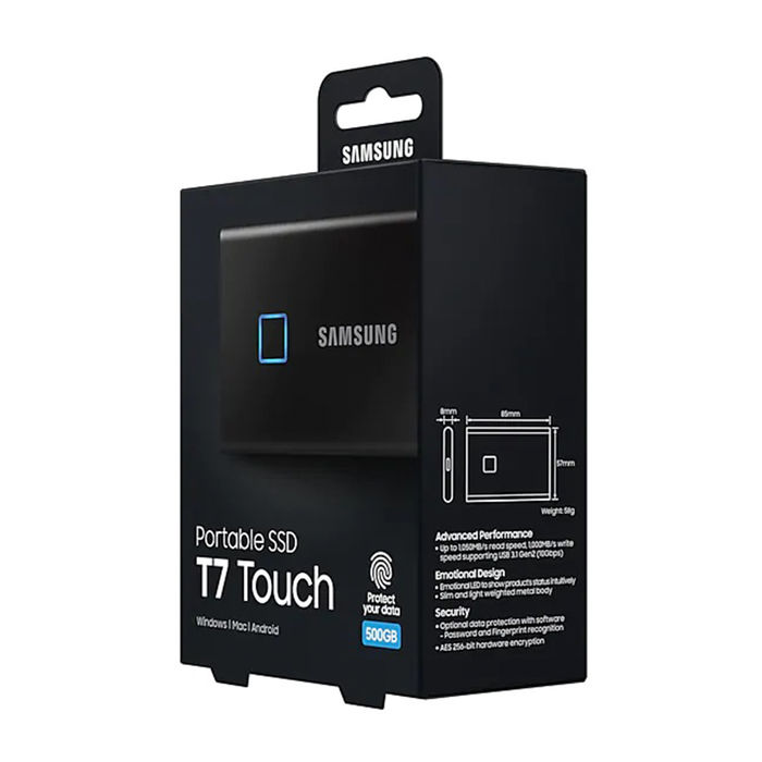 SAMSUNG SSD PORTATILE T7 TOUCH 500GB BLACK - thumb - MediaWorld.it