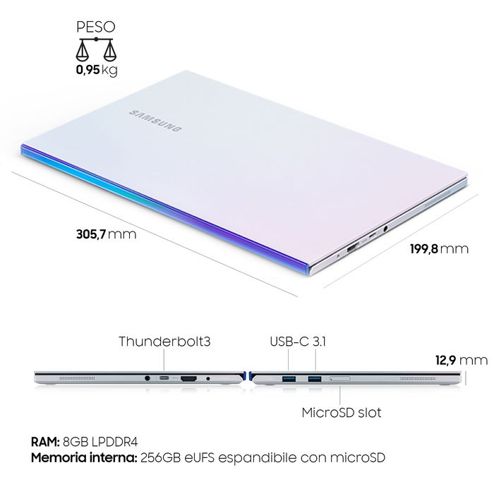 SAMSUNG Galaxy Book Ion 13,3'' Aura Silver - thumb - MediaWorld.it