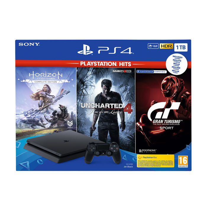 SONY PS4 1TB + Horizon Zero Dawn + Uncharted 4: A Thiefs End + GT Sport - thumb - MediaWorld.it