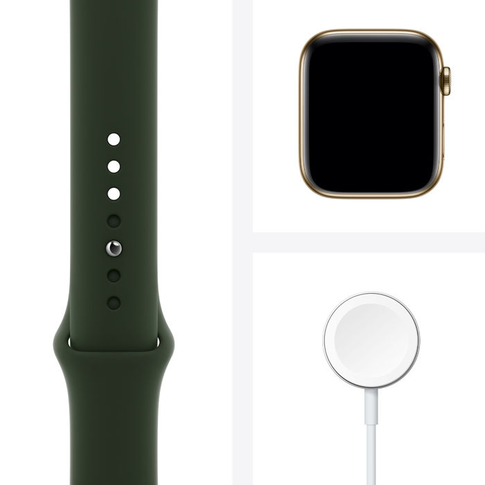 APPLE Watch Series 6 GPS+Cellular 44mm in acciaio oro - Sport Verde inverness - thumb - MediaWorld.it