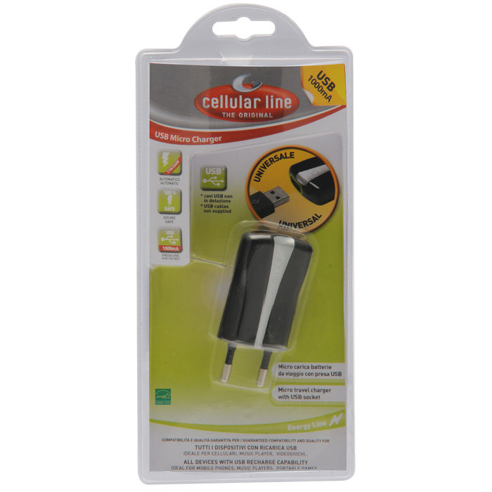 Cellularline USB Charger Compact - Caricabatterie Universale a 5W Nero - thumb - MediaWorld.it