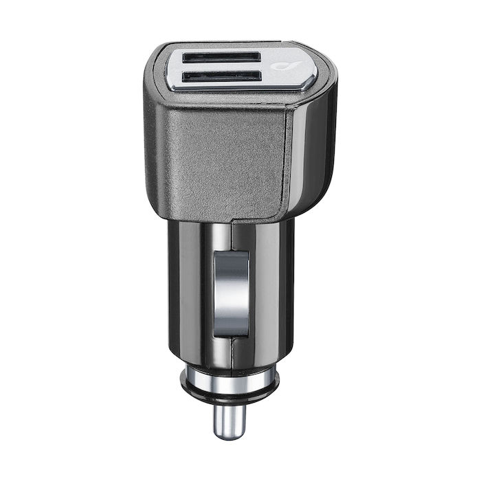 Cellularline USB Car Charger Dual Plus - CaricabatterieUniversale a 21W e finiture in metallo Nero - thumb - MediaWorld.it