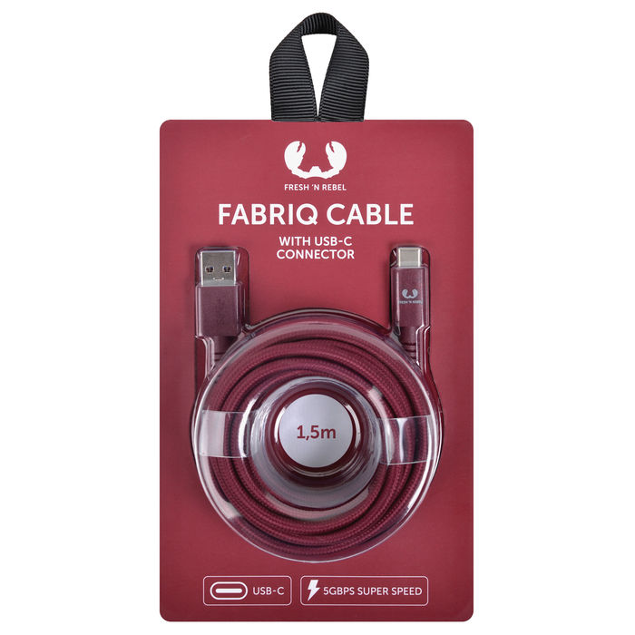 FRESH 'N REBEL Fabriq USB Type-C Cable 1,5m Ruby - thumb - MediaWorld.it