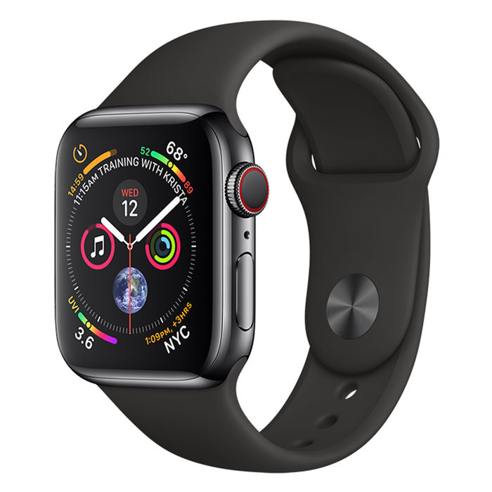 APPLE WATCH Series 4 GPS+Cellular 40 mm in acciaio nero siderale - Sport Nero - thumb - MediaWorld.it